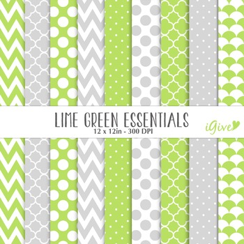 """lime green Digital Papers - """"Essentials"""""""