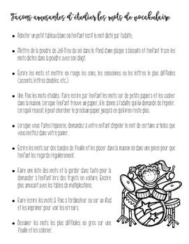 liste de façons amusantes d'étudier le vocabulaire