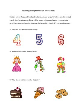 listening comprehension worksheets (4) - preschool, K