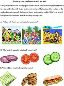 listening comprehension worksheets- preschool, K