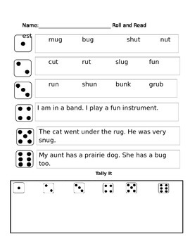 short u partner reading phonics game