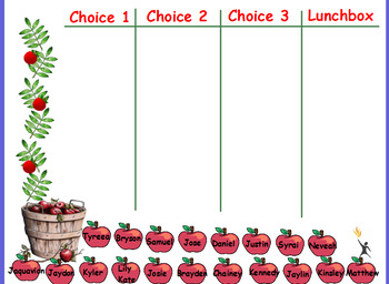lunch choice chart-apples