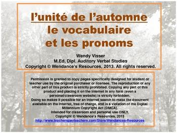 l'unité de l'automne - le vocabulaire, les pronoms et l'addition