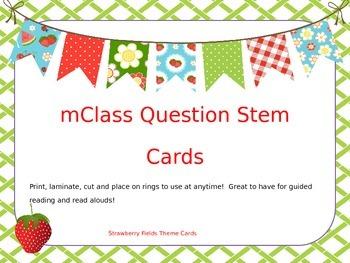 mClass Question Stem Cards- strawberry fields theme