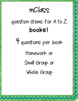 mClass questions for A to Z BOOKS!!