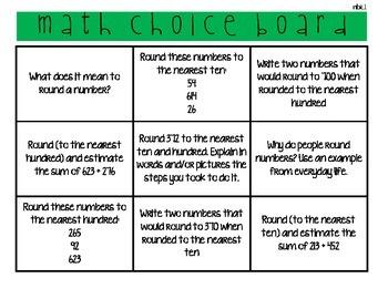 math choice boards 3.nbt.1 & 3.nbt.2