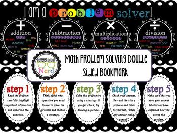 math problem solving bookmark