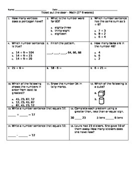 math ticket out the door assessment 5