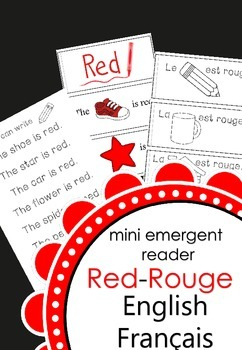 mini emergent reader-- red, rouge  français and english