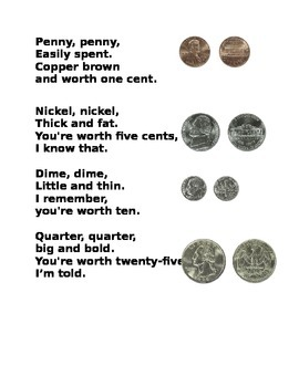 money poem with pictures and words