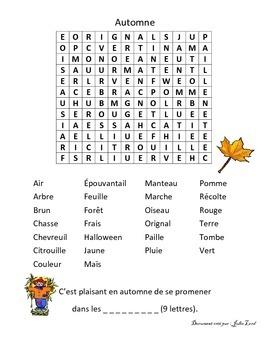 mot caché sur l'automne