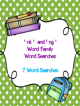 ng and nk Word Family Word Searches! {7 word searches}