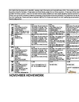 november homework calendar 2nd grade