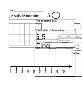 number recognition from 1-10 in FRENCH