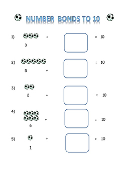 numbers bonds to 10 ( Soccer/football  theme)
