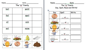 oi and oy word family worksheets