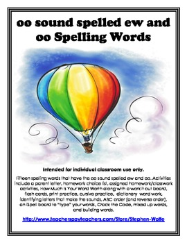 oo sound spelled ew and oo Spelling Basic Word Work Packet