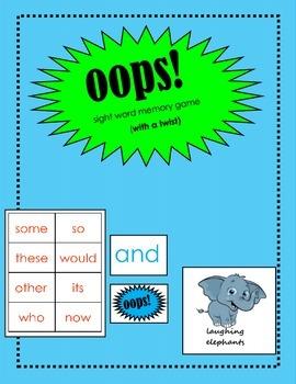 oops! Sight Word Memory Game