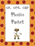 or, ore, oar Phonics Packet