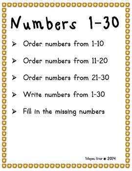 ordering numbers 1-100
