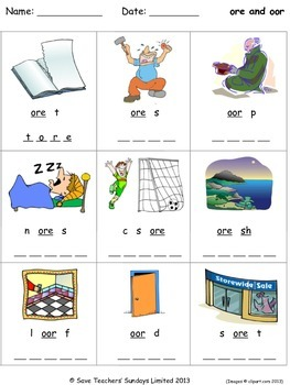 ore and oor phonics lesson plans, worksheets and other tea