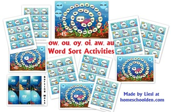 ow ou aw au oy oi Word Sort Activities and Games