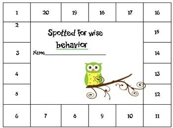 owl themed behavior punch card