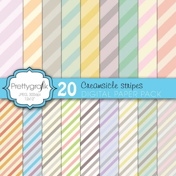 pastel stripes digital paper, commercial use, scrapbook pa