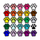 paw print clipart - 25 paws .png color and grayscale with