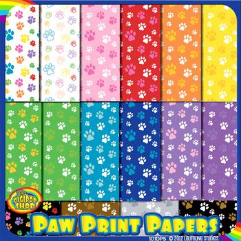 "paw print digital paper - 16 .jpg patterns 12""x12"""