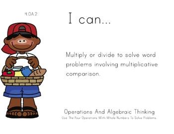 picnic Theme 4th Fourth Common Core Posters Math Mathemati
