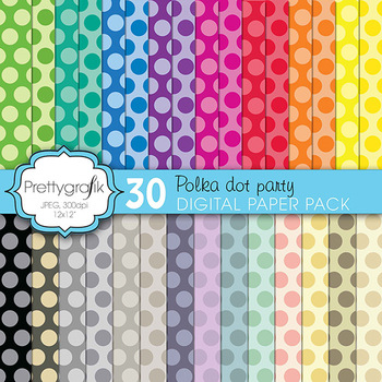 polka dot digital paper, commercial use, scrapbook papers,