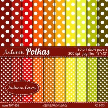 polka dot digital paper in fall colors - 24 .jpg papers in