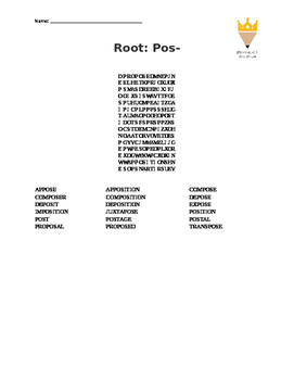pos- root word (word search)