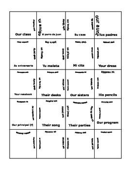 possesive adjective puzzle