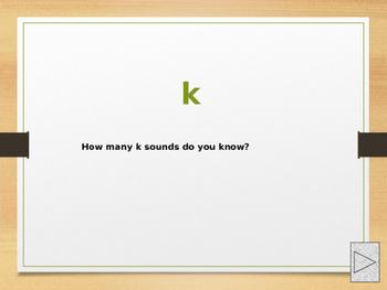 power point presentation using alternative spellings of k.