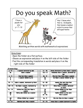Do you speak math? - Writing numerical expressions from wr