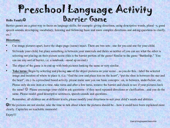 Preschool / Early Elementary Barrier Game