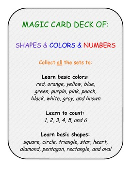primary pre-k k numbers shapes colors card game SET B - 108 cards