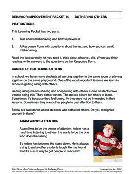 principal's Resource: 3rd Grade Behavior Improvement: Bothering