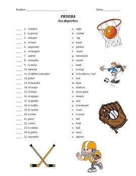 prueba de vocab - los deportes (matching)