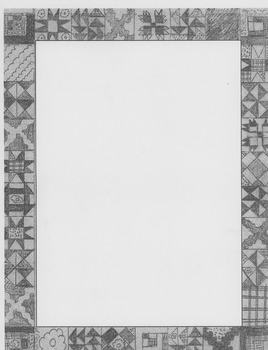 quilt clip art border-gray