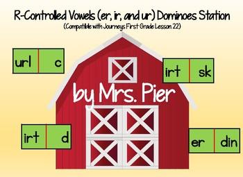 r-Controlled Vowel (er, ir, ur) Dominoes (Compatible Journ