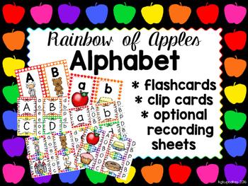 rainbow of apples: alphabet mini bundle_flashcards and clipcards