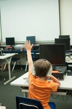 Stock Photo Styled Image: Student Raising Hand -Personal &