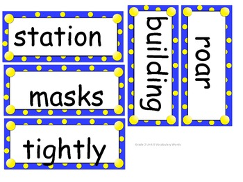 Grade 2 Vocabulary Words Unit 5 for Reading Street (2008)