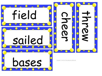 Grade 2 Vocabulary Words Unit 6 for Reading Street (2008)
