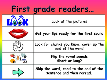 reading strategies poster 8.5x11: first grade