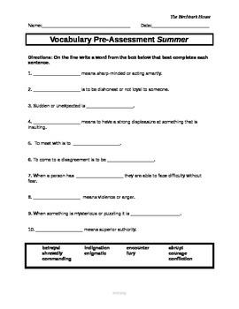 readyGen Vocabulary Assessments for The Birchbark House