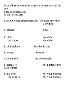 Realidades II, 1B Vocabulary